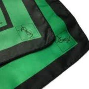 YSL Vintage Green & Black 100% Silk Scarf